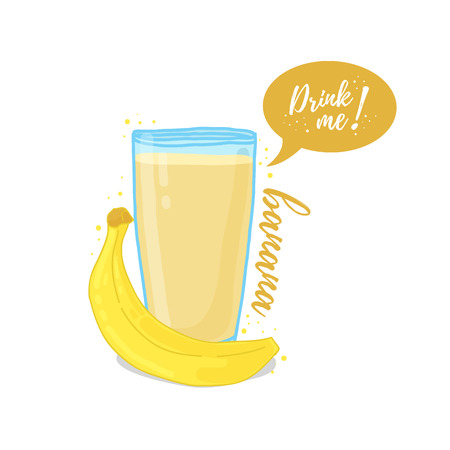 drink me: Design Template , poster, icons banana smoothies. Illustration of banana juice Drink me. Freshly squeezed tropical banana juice for healthy life. A glass of juice in doodle cute style. Illustration
