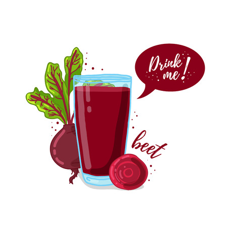 drink me: Design Template , poster, icons beet smoothies. Illustration of beet juice Drink me. Freshly squeezed vegetable beet juice for healthy life. A glass of juice in doodle cute style.