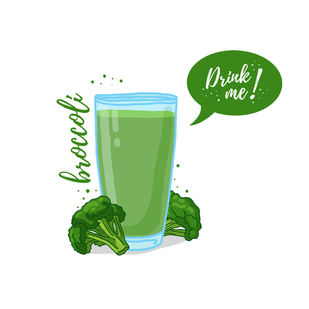 drink me: Design Template , poster, icons broccoli smoothies. Illustration of broccoli juice Drink me. Freshly squeezed vegetable broccoli juice for healthy life. illustration Illustration