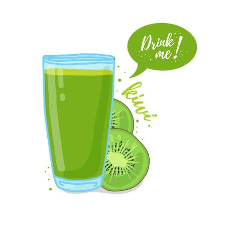 vaso de jugo: Plantilla de diseño, cartel, iconos batidos de kiwi. Ilustración de zumo de kiwi mi bebida. Recién exprimido zumo de kiwi tropical para la vida sana. Un vaso de jugo de estilo doodle.