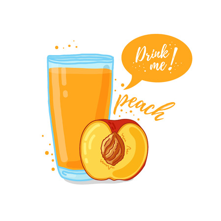drink me: Design Template , poster, icons peach smoothies. Illustration of peach juice Drink me. Freshly squeezed tropical peach juice for healthy life. A glass of juice in doodle cute style. Illustration
