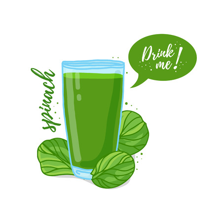 Design Template , poster, icons spinach smoothies. Illustration of spinach juice Drink me. Freshly squeezed vegetable herb spinach juice for healthy life.