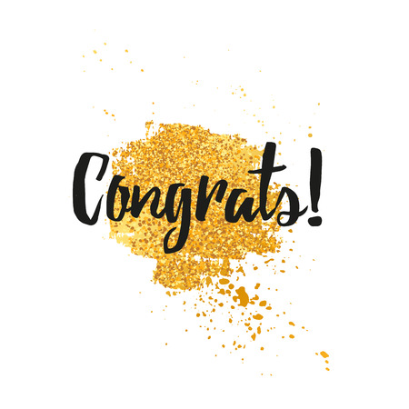 Template design greeting card Congratulations Card, greeting for the holiday. Decor spot grunge texture with gold and golden spray. Congratulations minimalist, trendy, modern style. Illustration