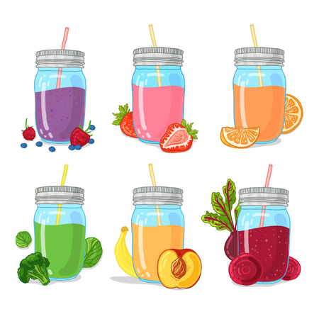 detox: Set smoothie from fruits, herb, berry and vegetables. Collection of illustrations of drinks for a healthy diet. Organic, detox juice for vegetarians. Doodle cute style. Illustration