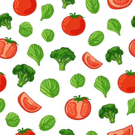 Seamless pattern with vegetable decoration. Wallpaper with a pattern of tomatoes, broccoli and spinach. Vegetable background is for cafes, restaurants, a fabric. Illustration