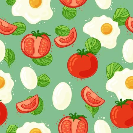 Seamless background with the ingredients for breakfast. Wallpaper with the decor of tomato, chicken eggs and herbs spinach. Vegetable backdrop.