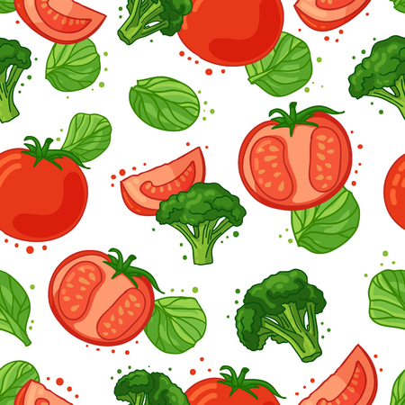spinach: Seamless pattern with vegetable decoration. Wallpaper with a pattern of tomatoes, broccoli and spinach. Vegetable background is for cafes, restaurants, a fabric. Illustration