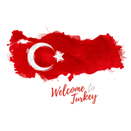 Symbole, affiche, Turquie. Carte de la Turquie avec la décoration du drapeau national. Style de dessin à l'aquarelle. carte turque avec le drapeau national.