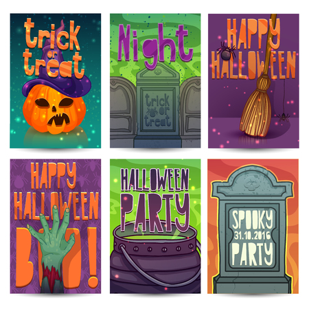 headstone: Happy Halloween party invitation, greeting card,  poster templates. Halloween character of zombies, pumpkin, headstone and magical witchs hat. Place for your text.