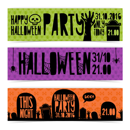gravestone: Set of horizontal banners with Happy Halloween party. Invitation with zombie hands, silhouettes cemetery and gravestone