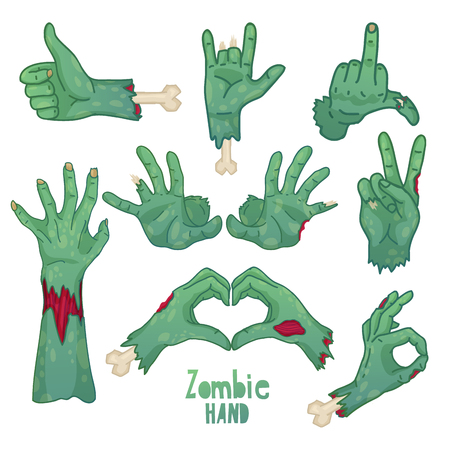 Set of icons, symbols, pin with cartoon zombie hands. Collection of gestures dead zombie hands for the Halloween. Funny hand dead people design elements. Illustration