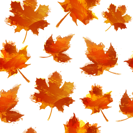 red leaves: Seamless autumnal texture. Wallpapers with maple leaves. Backdrop with red autumn leaves with the decor of a watercolor texture. Illustration