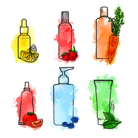 treatment plant: Set of drawn of organic cosmetics for skin care. Doodles of cosmetic bottles and package with watercolor texture. Bottles for serum, creams, tonic with natural ingredient. Illustration