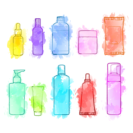 Set of drawn of cosmetics for skin care. Doodles of cosmetic bottles and package. Bottles for shampoo, creams, tonic. Sketch cosmetic with watercolor texture. illustration Illustration