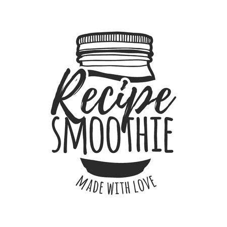 Zwart-wit voor bars, restaurants, cafés. Meld je ontwerp voor een smoothie bar. Symbool voor menu smoothie recepten met pot.