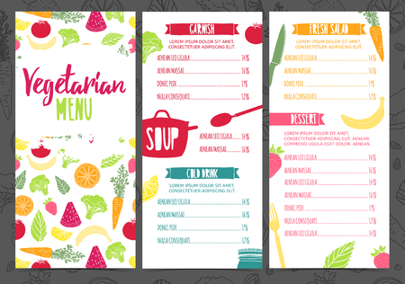 Set collection design template vertical vegetarian menu. Corporate identity menu for cafe or restaurant. Brochure with decor fruit and vegetable. Layout vegetarian menu with pattern healthy food
