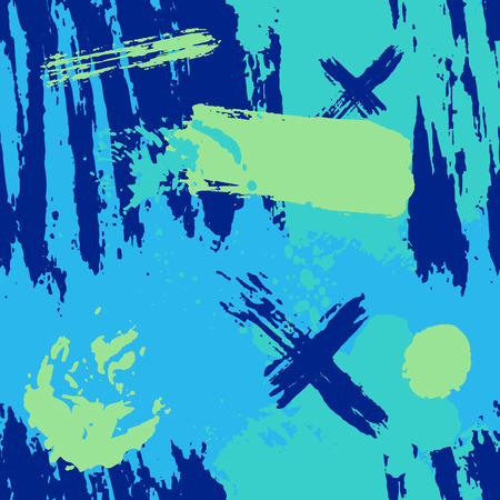 crosses: Trendy seamless wallpaper with painted with a brush. drawn geometric pattern textures made with ink. Blue abstract background. Sketch abstraction spot, swirl decor and crosses