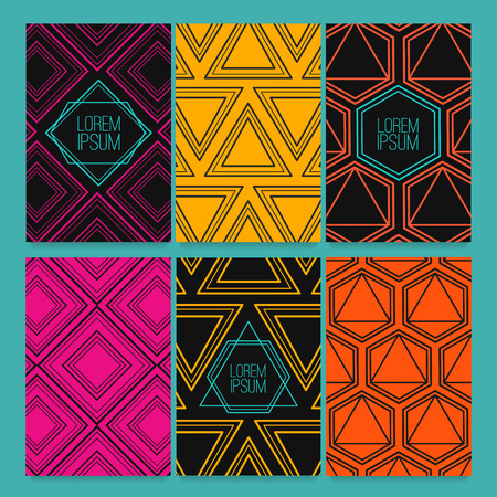 retro patterns: Set flyers, business cards, booklets, badges, invitation template. Template design with modern, trendy, retro triangular geometric patterns. Set backdrop textured mosaics and geometric symbol. Illustration