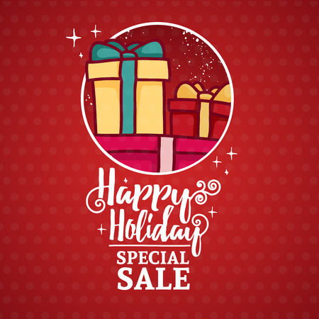 holiday gifts: Template design banner for Christmas sale. Frame with Snow and gifts. Poster for xmas discount event with happy holiday lettering. Postcard with cute cartoon gift box to happy new year action Illustration