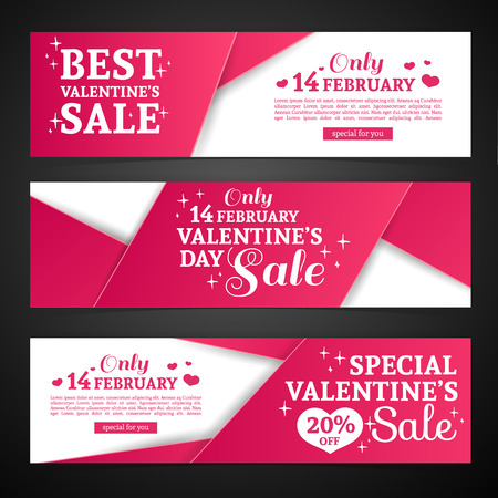 special events: Set template design Happy valentines day horizontal banner. Flyer with red color tape and special valentines sale text. Romantic horizontal banner  with heart decoration. Love day offer. Vector.