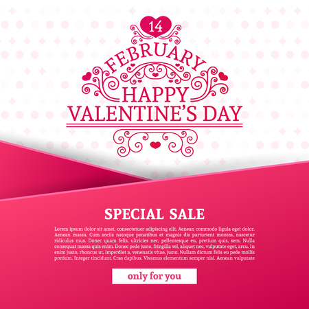 pink banner: Template design Valentine banner. Happy valentines  day brochure with decoration  pink tape for sale. Romantic poster with swirl love vintage logo and heart decoration for holiday offer. Vector.