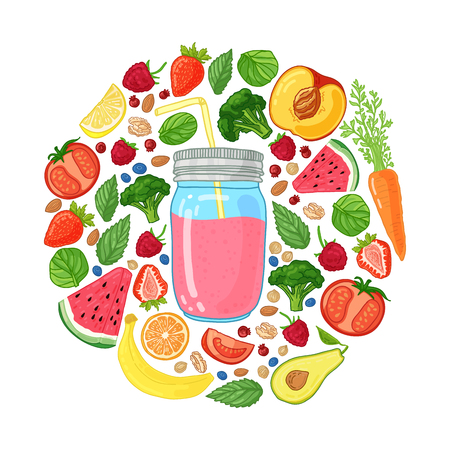 Template design banners, brochures, flyers smoothie. Design poster with smoothie jar and and ingredients. Decoration with fruits, vegetables and herbs. Vector