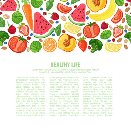Template design booklet with the decor of the fruit. Horizontal pattern of natural foods, fruits, vegetables and berries. Seamless decor vegetarian meal for poster, banner. Vector.