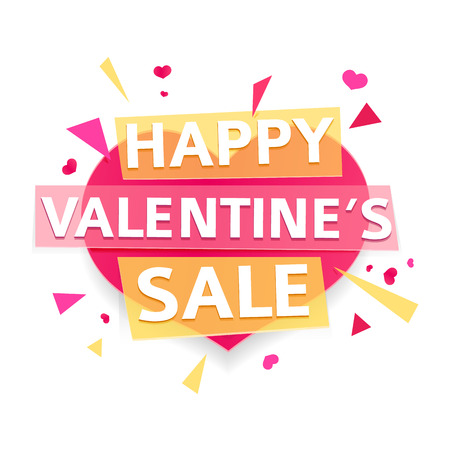 whithe: Design banner for Valentines day offer. Modern symbol with geometric particles for happy Valentines day sale. Pink heart with text for romantic promotion card and banner. Vector.