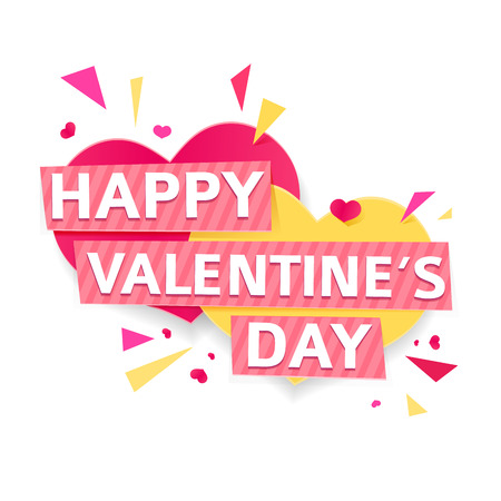 whithe: Design banner for Valentines day. Modern symbol with geometric particles for happy Valentines day holiday. Pink and yellow couple heart with text for romantic card and banner. Vector.