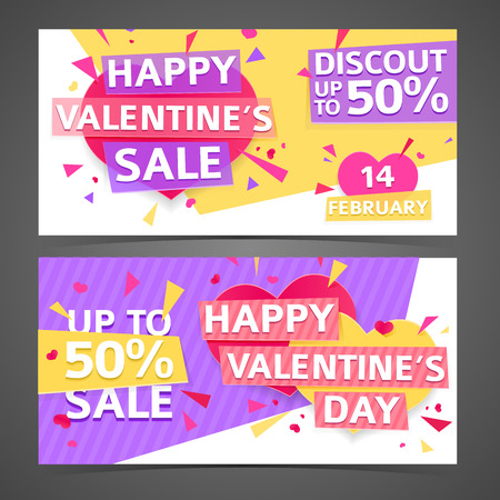 banner design: Template design horizontal banner for Valentines day offer. Geometric background with decor heart and particles for happy Valentines day sale.  Romantic promotion card and flyer. Vector.