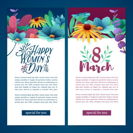 국제 여성의 날 세로 배너의 집합입니다. 꽃의 장식 전단지 3월 8일.