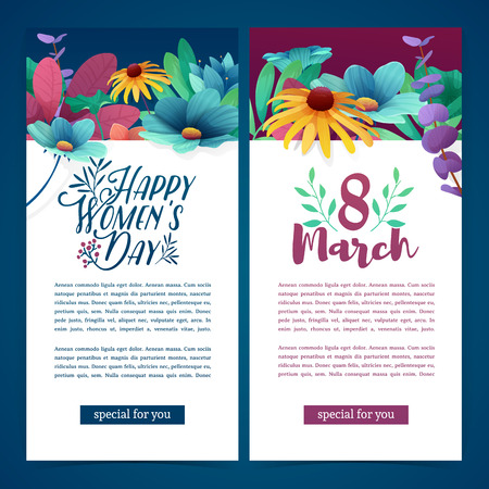 Set of vertical banners for the International Womens Day. Flyers March 8 with the decor of flowers. Ilustração