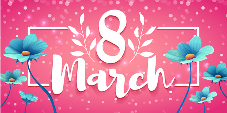 Banner with the logo for the International Womens Day on pink background.