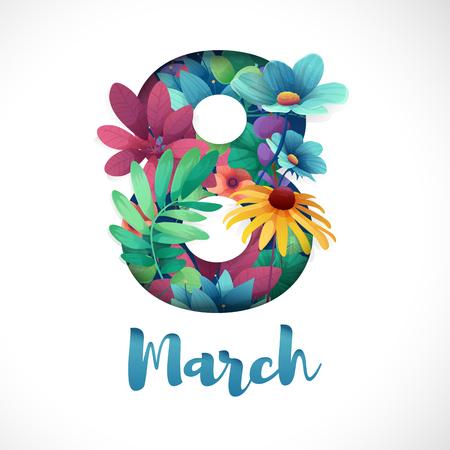 Banner para el Día Internacional de la Mujer. Flyer para el 8 de marzo con la decoración de flores. Invitaciones con el número 8 en el estilo de corte de papel con un patrón de las plantas de primavera, hojas y flores. Ilustración de vector