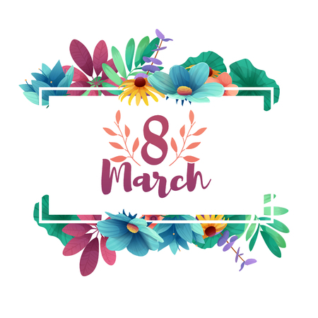 Banner for the International Womens Day. Flyer for March 8 with the decor of flowers.