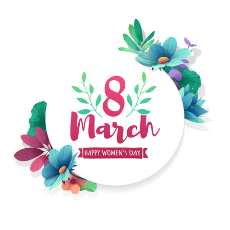 Round banner with the logo for the International Womens Day. Flyer for March 8 with the decor of flowers.