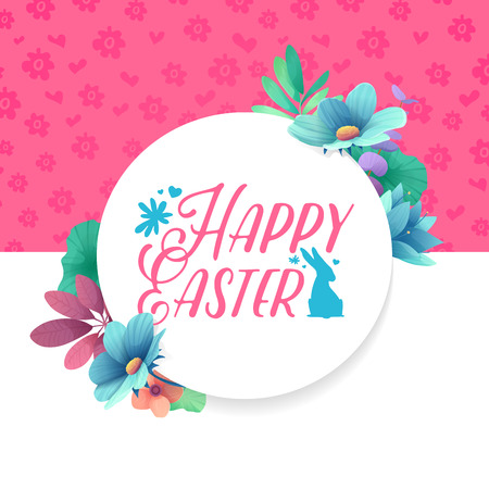 Banner design template with floral decoration for spring Easter. The round frame with the decor of plants, herb, leaves, twigs.