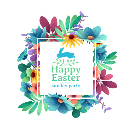 Banner design template with floral decoration for spring Easter. The square frame with the decor of flowers, leaves, twigs. Illustration