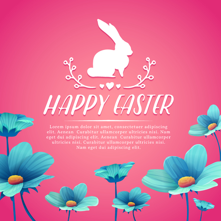 Banner design template with blue flower decoration for spring Easter. Invitation for easter holiday with rabbit and flower element.