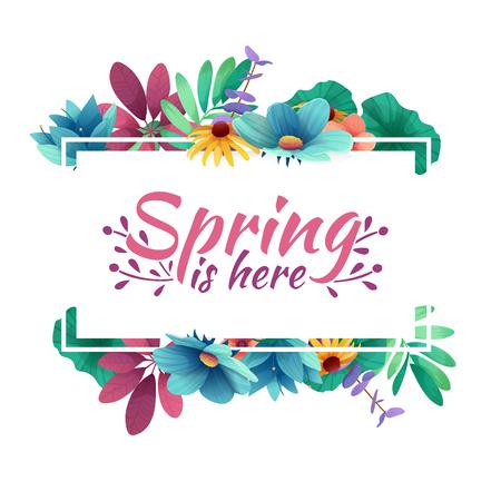 La bannière de conception avec le printemps est ici le logo. Carte pour la saison printanière avec cadre blanc et herbe. Offre de promotion avec décoration de plantes, de feuilles et de fleurs au printemps. Vecteur