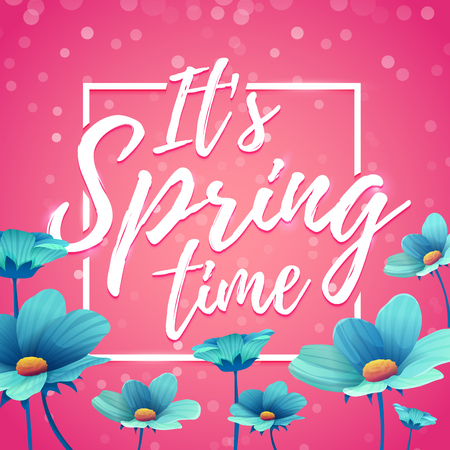 Design banner its spring time. Flyer for  spring season with square frame. Poster with blue flower decoration on pink background.  Vector Иллюстрация