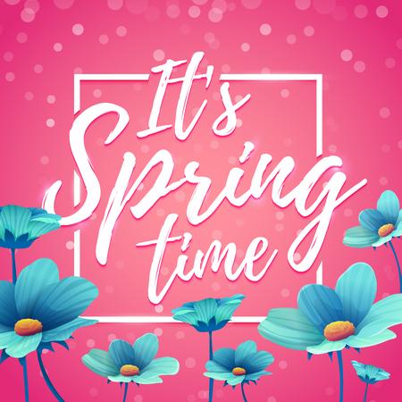 Design banner its spring time. Flyer for  spring season with square frame. Poster with blue flower decoration on pink background.  Vector Illustration
