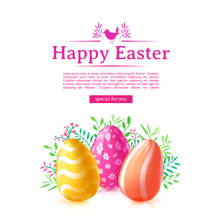 Design template banner for Happy Easter. Poster decoration colored egg and flower. Square card with logo for happy easter offer with silhouettes of chick. Vector Illustration