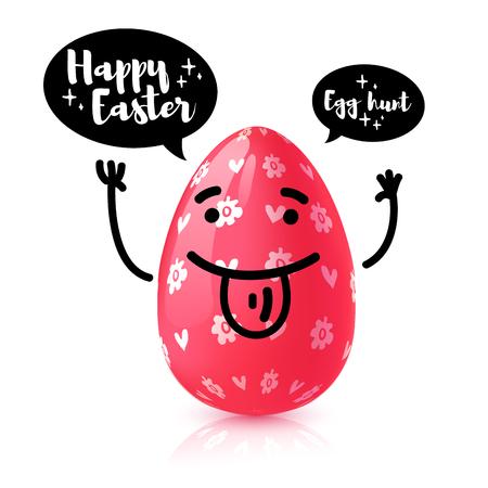 Template design  banner for Happy Easter. Invitation for Easter Egg hunt with rad  funny egg with emotional emoji.  Vector.