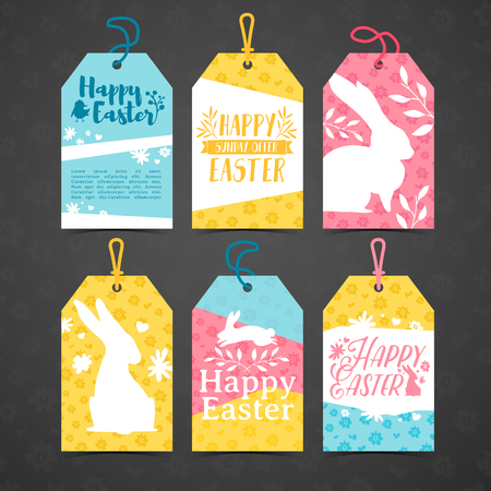 Set of price tags for easter. Template for the design of cards for the spring holiday of Happy Easter. Decor with a floral pattern. Logos with silhouettes of rabbit, chick and plant. Vector.