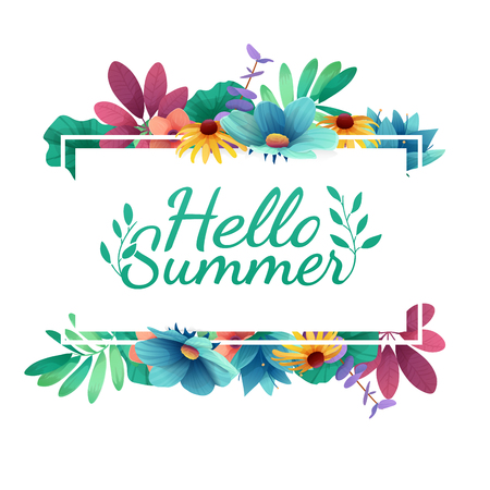Design banner with  Happy summer logo. Card for summer season with white frame and herb. Promotion offer with summer plants, leaves and flowers decoration.  Vector