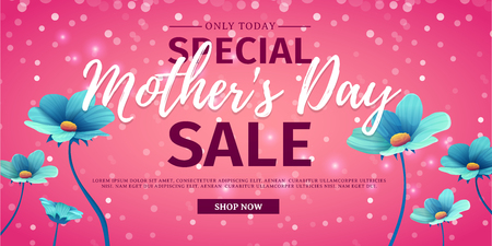 flower layout: Template design discount banner for happy mothers day. Horizontal poster for special mothers day sale with blue nature, flower decoration.  Layout on pink background. Vector
