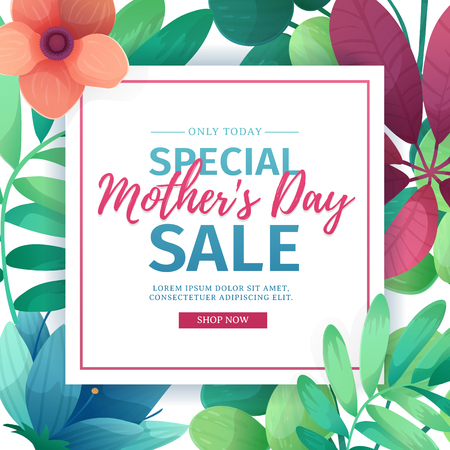 flower layout: Template design discount banner for happy mothers day. Square poster for special mothers day sale with flower decoration.  Square layout on natural, floral background. Vector