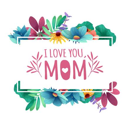 Fahnenauslegungschablone ich lome Sie, Mutter mit Blumendekoration. Vektorgrafik