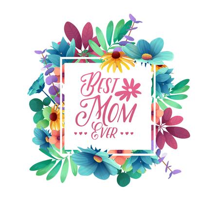 Template Design Banner Beste Mutter aller Zeiten. Quadratisches Plakat für glücklichen Muttertagfeiertag mit Blumendekoration.